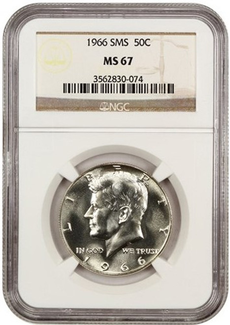 1966 SMS 50c Kennedy NGC MS67 obverse