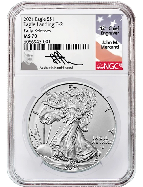 2021 Silver Eagle NGC MS70 Early Release Type 2 obverse