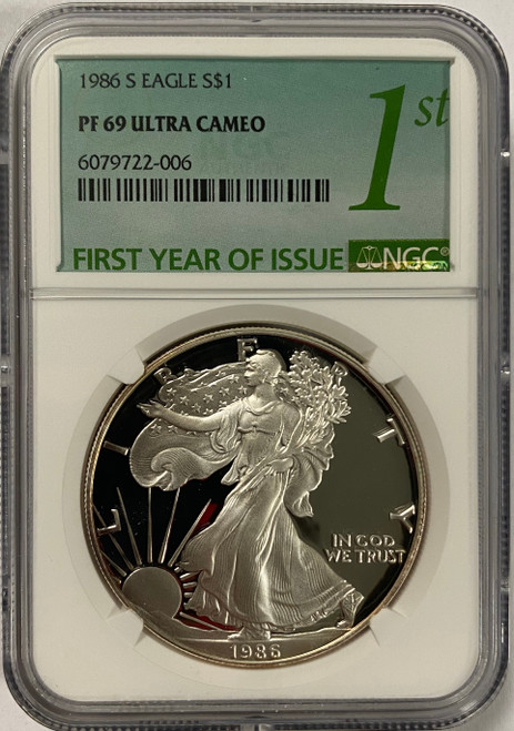 1986-S Proof Silver Eagle NGC PF69 - First Year of Issue obverse