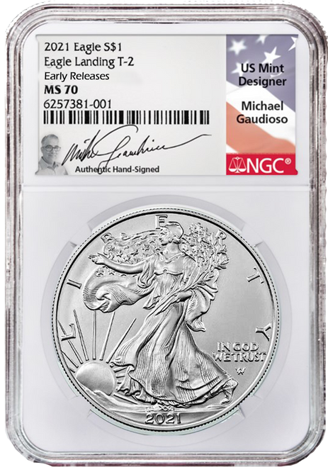 2021 Silver Eagle NGC MS70 Early Releases Type 2 Gaudioso Signed (Engraver)