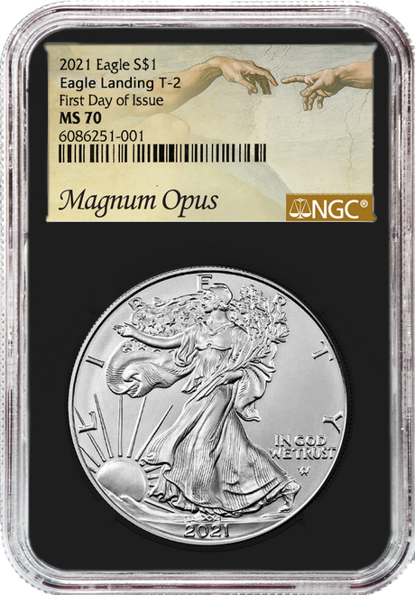 2021 Silver Eagle NGC MS70 Type 2 First Day of Issue Magnum Opus - Black Core obverse