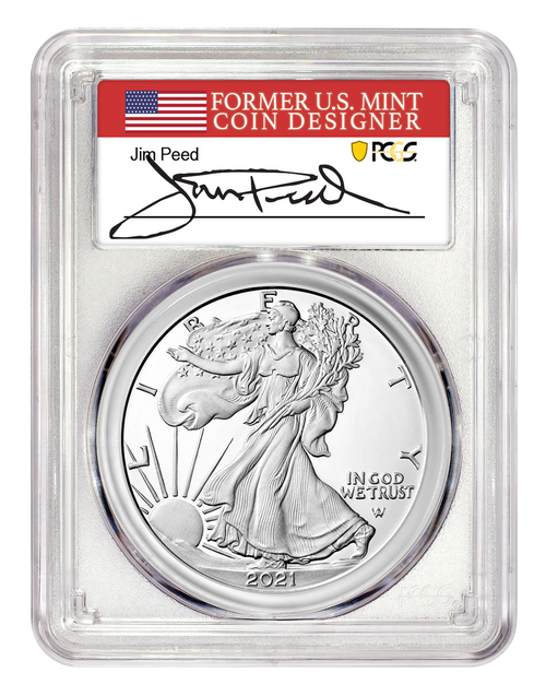 2021-W Proof Silver Eagle Type-2 PCGS PR70 DCAM First Day of Issue Jim Peed Signed obverse