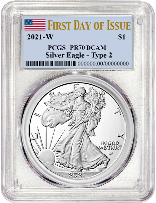 2021-W Type 2 Proof Silver Eagle PCGS PR70 DCAM First Day of Issue Flag Label obv