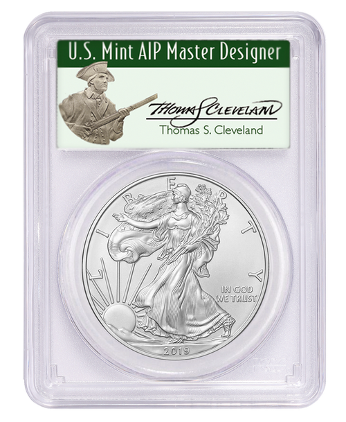 2019 Silver Eagle PCGS MS70 First Day of Issue Thomas Cleveland Signed