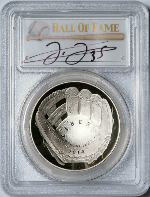 2014-P $1 Proof Silver Baseball Coin PCGS PR70 DCAM Frank Thomas Signed obverse