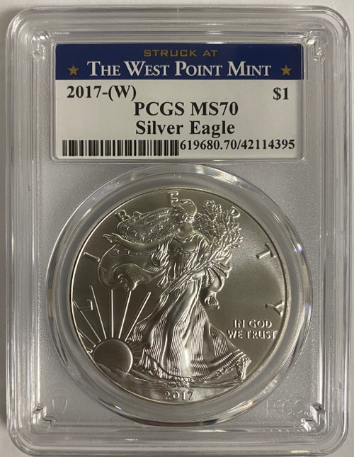 2017 (W) Silver Eagle PCGS MS70 Struck at West Point obverse