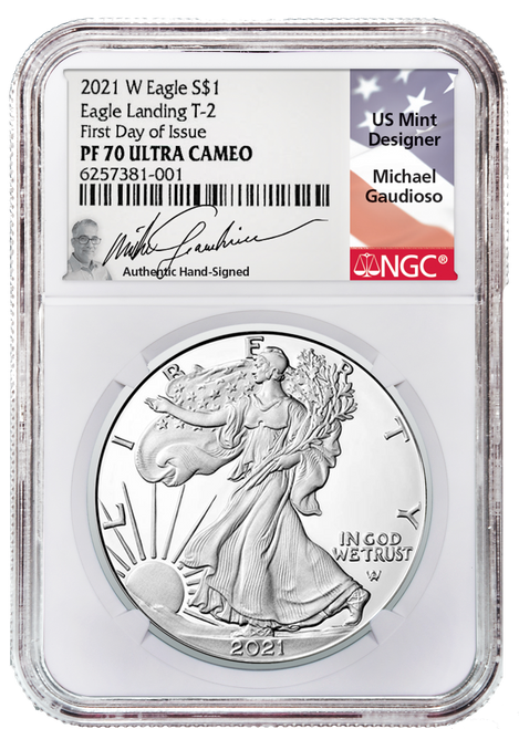 2021-W Type 2 Proof Silver Eagle NGC PF70 UCAM First Day of Issue Gaudioso Signed (Engraver)