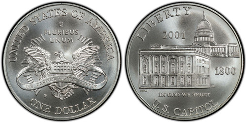 2001-P Capitol Visitor Silver Dollar Gem Uncirculated