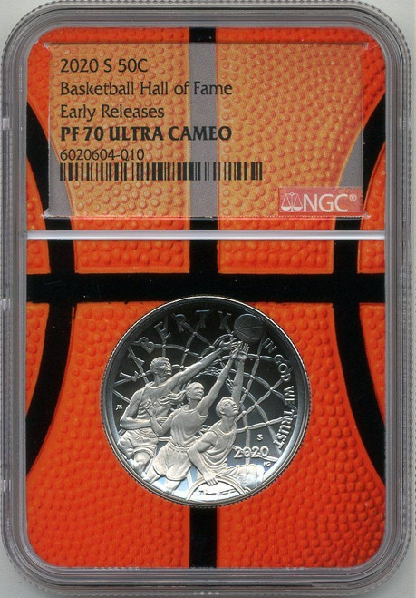 2020 1oz 50c Silver Basketball HOF Coin NGC PF70UCAM Early Releases - Basketball Core obv