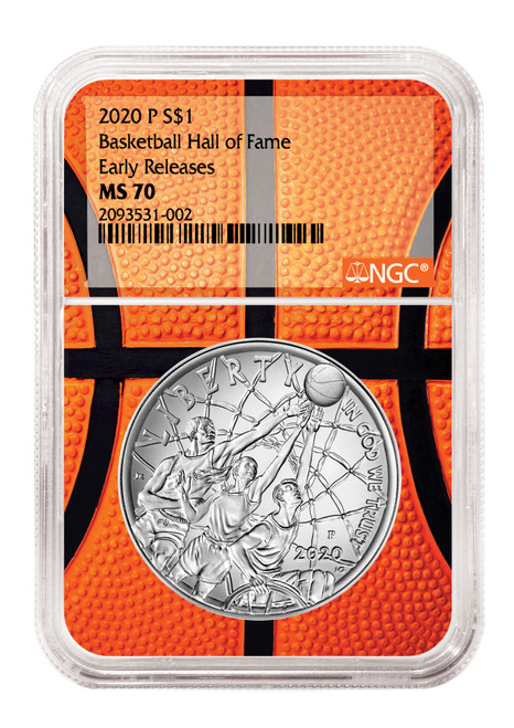 2020 1oz $1 Silver Basketball HOF Coin NGC MS70 Early Releases - Basketball Core   obv