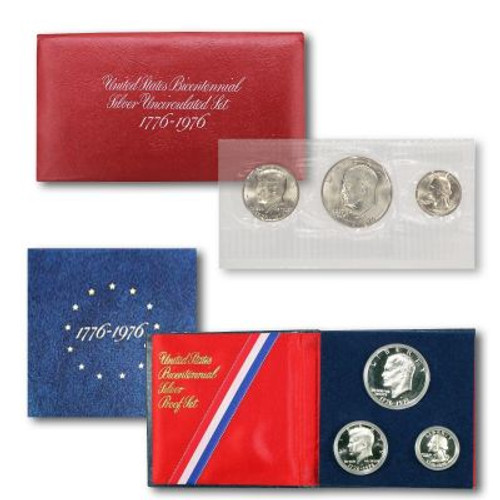 1976 BiCentennial Proof & Uncirculated Silver Set in OGP