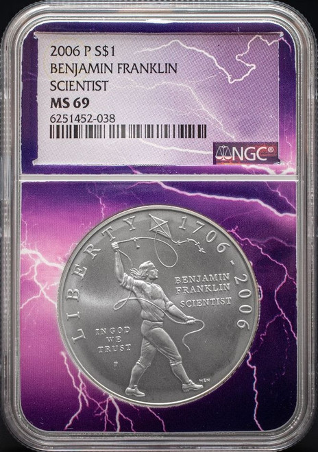 2006-P Franklin Scientist Silver Dollar NGC MS69 - Exclusive Lightning Core obverse