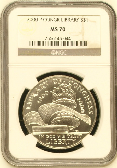 2000-P Library of Congress Silver Dollar NGC MS70 - 1 of just 758 obverse