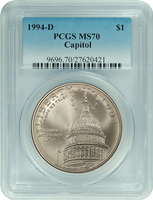 1994-S Capitol Silver Dollar PCGS MS70 - Only 585 exist! obverse