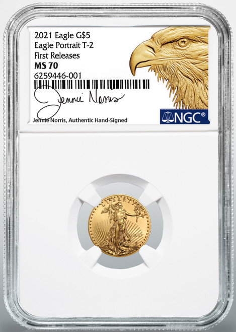 2021 $5 Type 2 American Gold Eagle 1/10 oz. NGC MS70 First Releases  Jennie Norris Signed (New Designer)