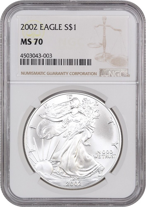 2002 Silver Eagle NGC MS70 obverse
