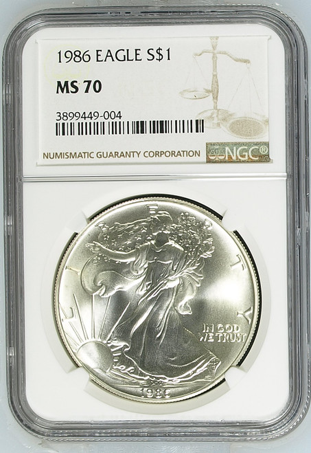 1986 Silver Eagle NGC MS70 - First Year of Production obverse