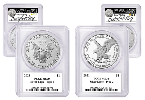 2021 ASE MS70 PCGS 2-coin Set Type 1 & Type 2 Gary Whitley Signed