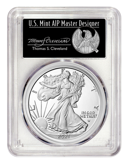 2021-W Proof Silver Eagle Type 2 PCGS PR70 DCAM First Day of Issue - Thomas Cleveland Signed obverse
