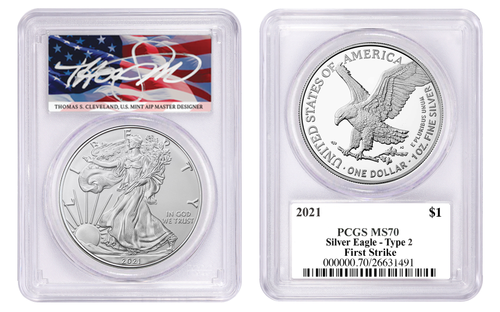 2021 Silver Eagle Type 2 PCGS MS70 First Strike Thomas Cleveland