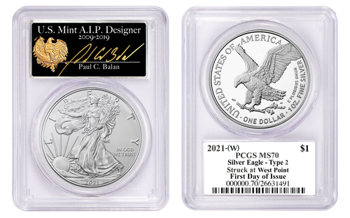 2021 (W) Silver Eagle Type 2 PCGS MS70 First Strike Paul C Balan Signed Struck at West Point
