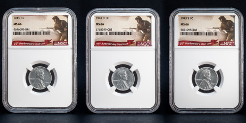 1943 P+D+S Steel 3-Coin Set Lincoln Cent NGC MS66 - WWII Penny Set  of 3 obverse
