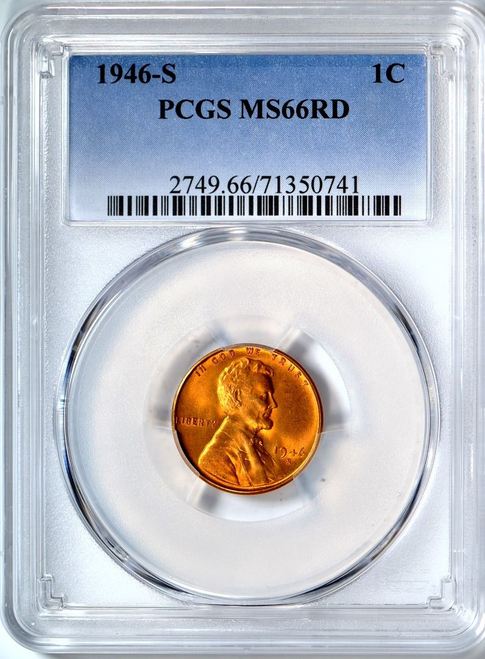 1946-S Lincoln Penny PCGS MS66 RD