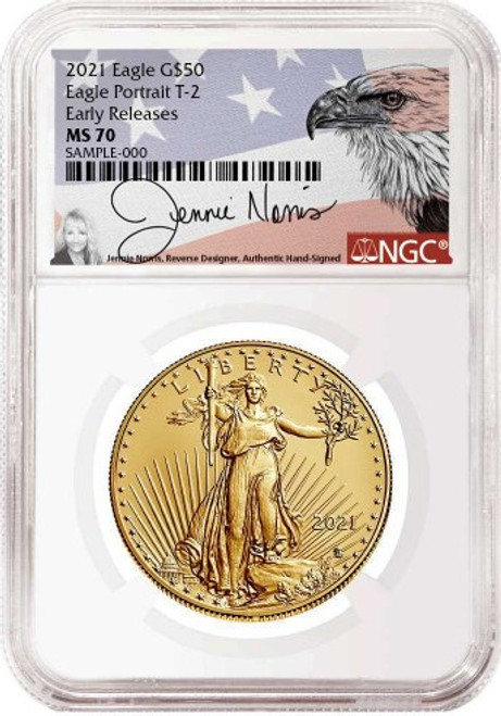 2021 $50 Gold Eagle Type 2 NGC MS70 Early Releases Jennie Norris Signed obverse
