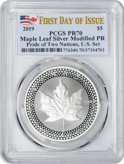 2019 Modified Proof Maple Leaf PCGS PR70 First Day of Issue - From Pride of Two Nations Set obverse