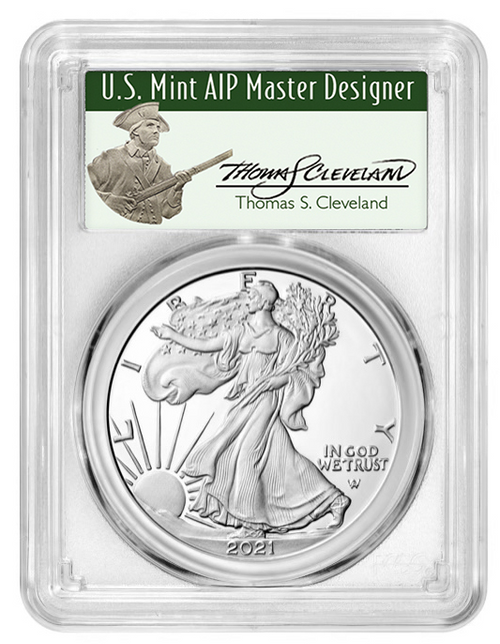 2021-W Proof Type 2 American Silver Eagle PCGS PR70 DCAM Advance Release - Thomas Cleveland Signed obverse