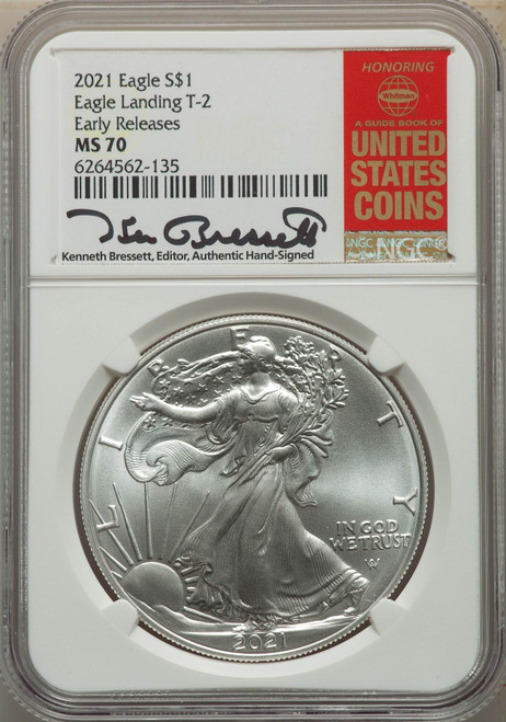 2021 Silver Eagle NGC MS70 Early Releases Type 2 Kenneth Bressett Signed obverse