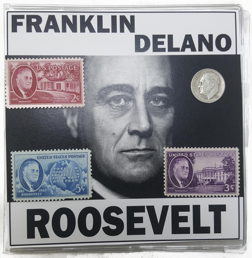 FDR Franklin D. Roosevelt 4 Piece Mini Album (One Coin + Three Stamps) 3