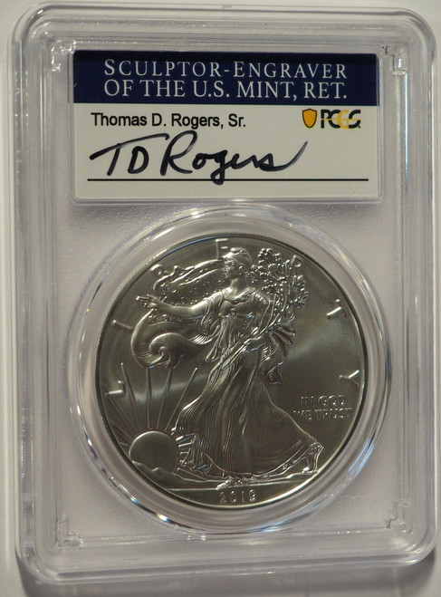 2019-W Burnished Silver Eagle PCGS SP70 First Day of Issue Thomas Rogers obver