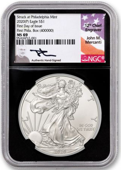 """2020 (P) Silver Eagle """"Struck at Philadelphia"""" Box #400,000 NGC MS69 First Day of Issue Mercanti Signature"""