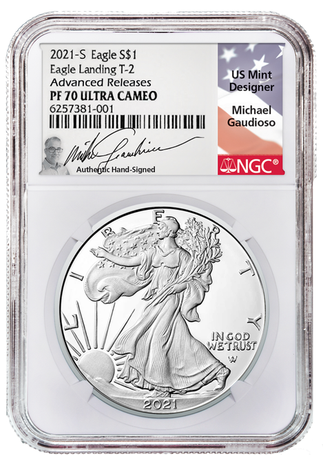 2021-S Proof Silver Eagle Type 2 NGC PF70 UCAM Advanced Releases - Gaudioso Signed