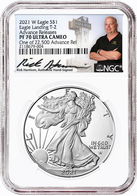 2021-W Proof Silver Eagle Type 2 NGC PF70 UCAM Advanced Releases Rick Harrison Signed
