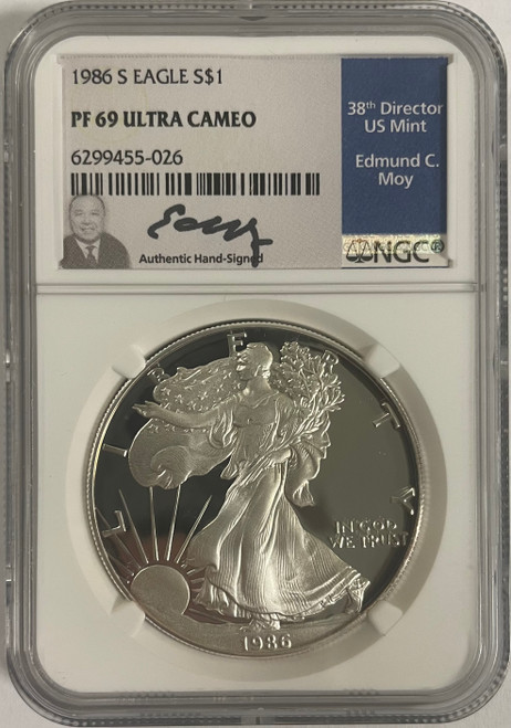 1986-S Proof Silver Eagle NGC PF69 Edmund Moy Signed obverse