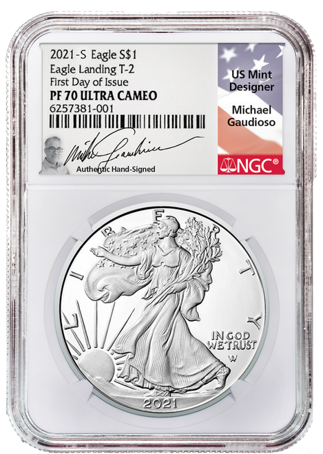 2021-S Type 2 Proof Silver Eagle NGC PF70 UCAM First Day of Issue Gaudioso Signed (Engraver)