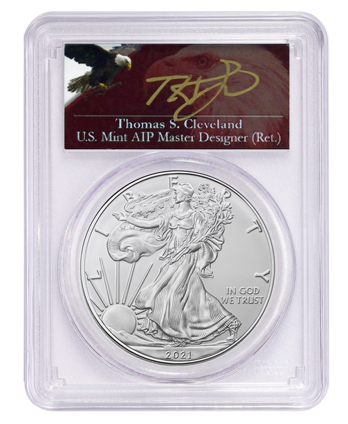 2021 Silver Eagle Type 2 PCGS MS70 First Day of Issue - Thomas Cleveland Signed (Exclusive Label)