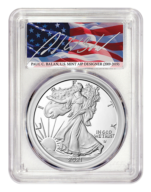 2021-W Proof Silver Eagle Type 2 PCGS PR70 DCAM First Day of Issue - Paul Balan Signed