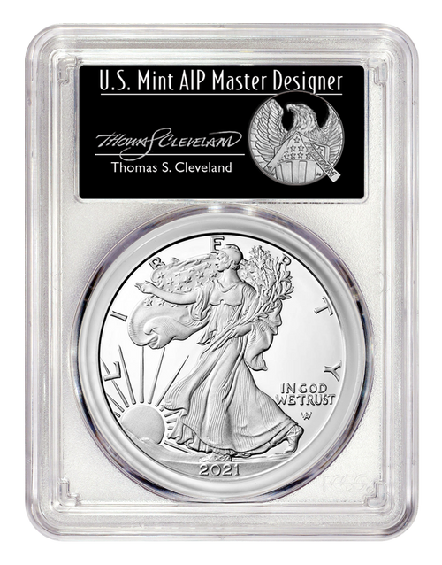 2021-S Proof Silver Eagle Type 2 PCGS PR70 DCAM First Day of Issue - Thomas Cleveland Signed