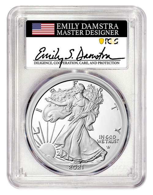 2021-S Proof Silver Eagle PCGS PR70 DCAM First Strike - Damstra Signed