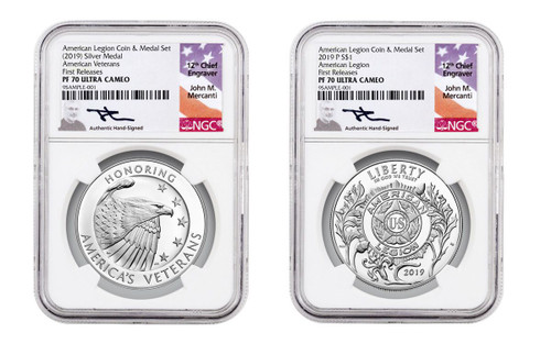 2019-P American Legion 100th Anniversary Silver Dollar Proof & Medal 2-Piece Set NGC PF70 First Releases - Mercanti Signed Label