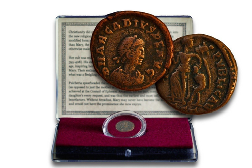 Virgin Mary Coin: Bronze Coin from the Reign of Emperor Arcadius - History Box