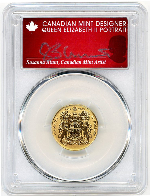2021 $20 Reverse Proof Canada Gold Coat of Arms PR70 PCGS First Strike S. Blunt Signed reverse