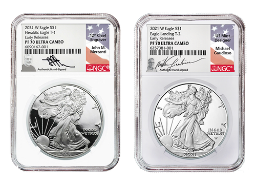 2021 T1 and T2 Silver Eagle NGC PF70 ER Mercanti and Gaudioso Engraver Set