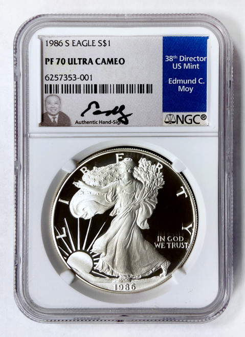 1986-S Proof Silver Eagle NGC PF70 UCAM Ed Moy Signed
