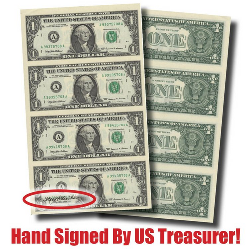 $1 Bills Uncut! Hand-Signed 4-Note Sheet--by Treasurer Mary Ellen Withrow