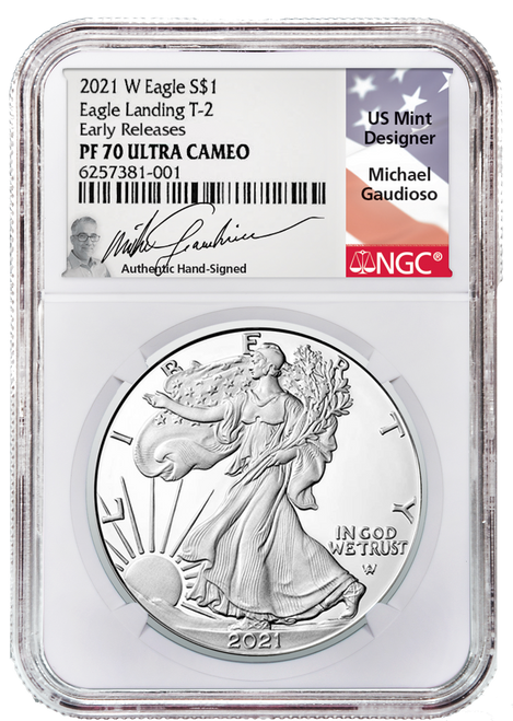 2021-W Type 2 Proof Silver Eagle NGC PF70 UCAM Early Releases Gaudioso Signed (Engraver)