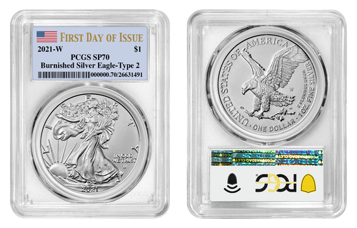 2021-W T2 Burnished Silver Eagle PCGS SP70 First Day of Issue